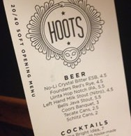Hoots Roller Bar menu