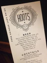 Hoots menu
