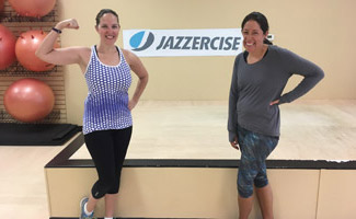Melissa and Michelle at Jazzercise class