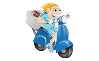 Pizza Delivery Kid On Bike