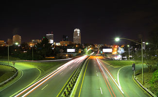 Downtown Winston-Salem at Night: i-40 highway