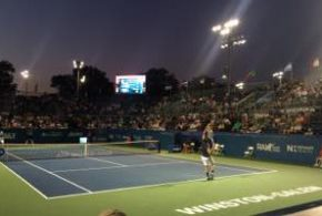 Winston Salem Open Tennis 2015 at night Tsonga